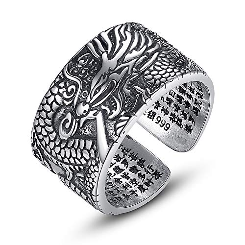 LOVECOM 990 Sterling Silver Dragon Rings for Men Boys Vintage Open Ring Thai Silver Jewelry Cool Birthday Party Gift Comfort fit Statement Wedding Bands