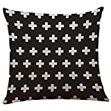 Lenfesh Blanco y Negro Clásico Fundas Cojines,algodón Vintage Funda de Almohada-Decoracion Minimalista (B, 45_x_45_cm)