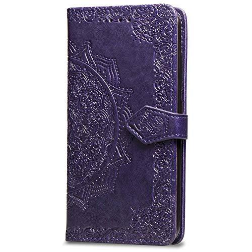 Oihxse Funda con Huawei P8 Lite2017/honor 8 Lite, Cuero PU Billetera Cierre Magnético Flip Libro Folio Tapa Carcasa Relieve Soporte Plegable Ranuras para Tarjetas Protección Caso(Purpura)