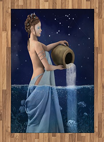 Ambesonne Astrology Area Rug, Aquarius Lady with Pail in The Sea Water Signs Saturn Mystry at Night Stars, Flat Woven Accent Rug for Living Room Bedroom Dining Room, 4' X 5.7', Blue Dark Blue