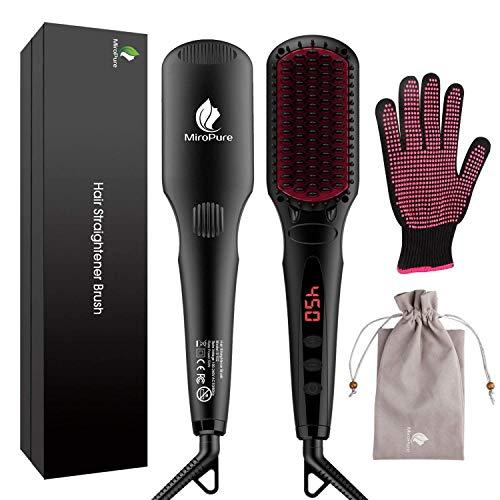Cepillo Iónico 2 en 1, alisador térmico de cabello MCH. Con plancha y guante resistente al calor, con función de bloqueo de temperatura