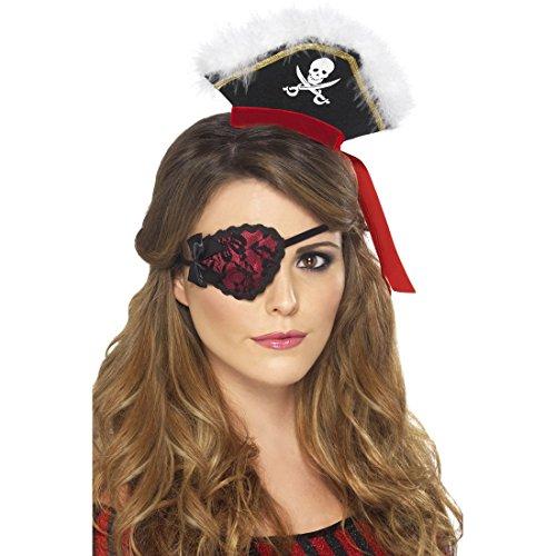 Amakando Cache-Œil de Pirate Accessoire Jeune Mariée Bandeau avec Dentelle Enterrement de Vie de Jeune Fille Soirée à Thème