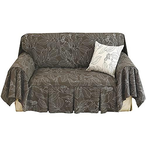 KGDC Funda Sofa Cubierta de sofá Retro Hoja Simple Jacquard Sofá de sofá Solicitud Simple extraíble y Lavable Sofá Sofá Funda Cubierta de sofá Gris para 1 cojín Protector para Sofás