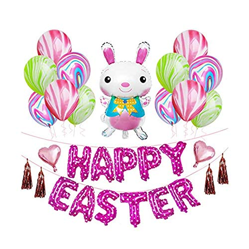 Dasongff Ostern Ballons Set Dekoration Hase Luftballons, Happy Easter Aluminium Achat Ballon,für Party Ostern Dekoration Frühlingsdeko,33pcs