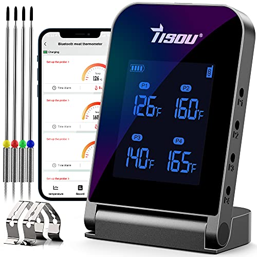 Wireless Bluetooth Meat Thermometer with 4 Probes, Smart LCD Digital BBQ Grill Thermometer Timer, 394ft Remote Monitor Alarm Notification for Oven, Grillling, Kitchen, Food, Smoker, Rechargeable