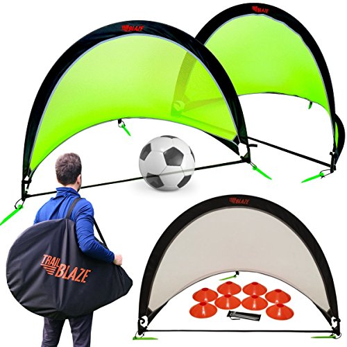 Pop Up Soccer Goals Set - 2 Portable Soccer Nets for Backyard, Park or Training - Carry Bag + 8 Disc Soccer Cones Extra Metal Pegs - Perfect Soccer Goals for Kids