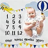 Manta de hito mensual para bebé con estampado de globo aerostático de avión para recién nacido, bebé, niño, niña, fotografía de fondo con marco (40 x 40 pulgadas)