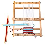 Bino Webstuhl mit Wolle Holzspielzeug Motorikspielzeug Kreativ-Set Spielzeug für Kinder ab 3 Jahre (5-Teilig, Maße: 40 x 2,5 x 30,5 cm, inkl.: Wolle und 2...