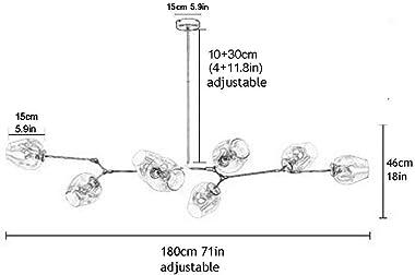 WHLMYH Modern Industry Sputnik Chandelier,E27 Industrial Molecule Adjustable Branch Pendant Light with [Round] Handblown Glas