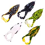Soft Frog Bait, Double Propellers Legs, 3D Eyes, Lifelike Silicone Skin Pattern, Topwater, Bigger Splash More Attractive, Fishing Lure Set for Bass Snakehead Pike, 3.5in/0.46oz, 5 pcs (Combo A)