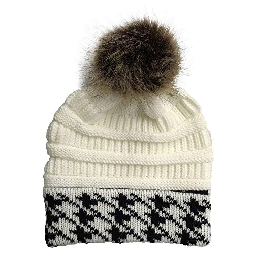 ZZBO Mütze Strickmütze mit Bommel Herbst Wintermütze Damen Bommelmütze Hüte warme Gestrickte Beanie Mütze