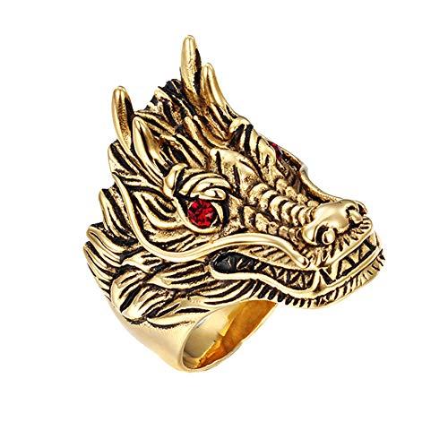 PAURO Hombre Vendimia Dragon de Acero Inoxidable con Ojos Rojos Anillo de Motorista Oro y Negro Tamaño 17