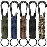 5本のカラビナ付きパラコードキーチェーン、SENHAI編組ストラップリングフッククリップ、懐中電灯/戸外キャンプ/ハイキング/バックパック用 - 5色