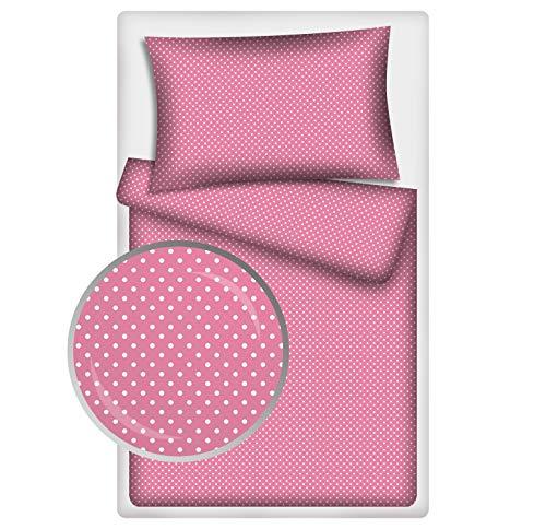 KiGATEX Kinderbettwäsche Pünktchen 2-TLG. 100% Baumwolle 40x60 + 100x135 cm mit RV (pink-Weiss)