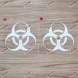 2X White 4'' Biohazard Warning Sign Decal Sticker Car Vinyl die-Cut no backgroud