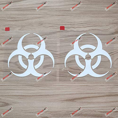 2X White 4'' Biohazard Warning Sign Decal Sticker Car Vinyl die-Cut no backgroud