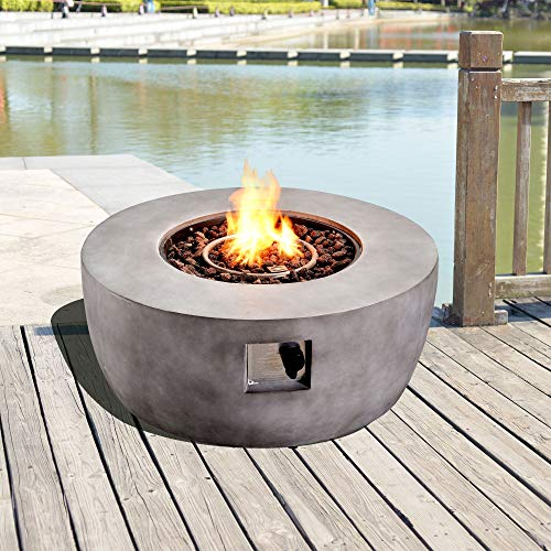 Peaktop Outdoor Round Stone Propane Gas Fire Pit with Cover and Lava Rocks