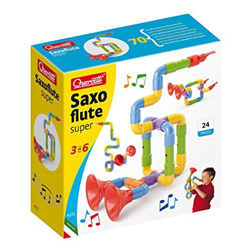 Quercetti- Saxoflute Super Gioco di Costruzione, Multicolore, 24 Pezzi, 4172