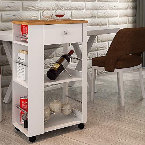 Style home Küchenwagen Servierwagen mit Schublade und Bambus Arbeitsplatte,Getränkewagen Beistellwagen (50x36x86cm)