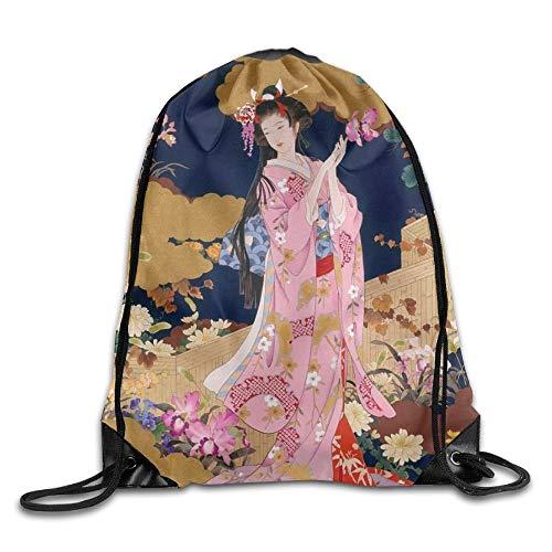NA Japanse Geisha Meisje Roze Jurk Unisex Outdoor Rugzak Schoudertas Sport Trekkoord Rugzak