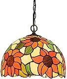 DALUXE Girasole Tiffany Luce lampadario, lampadari in Vetro colorato, Retro Stile Europeo E27 Luce a soffitto, caffè Bar Sala espositiva soffitto,2 luci,40 cm (16 Pollici)