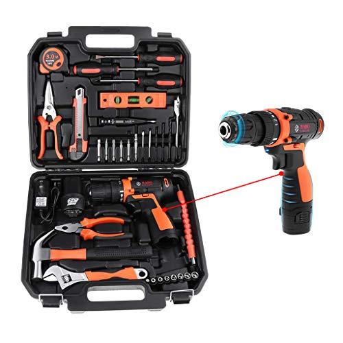 Miulika 12V Cordless Drill & Home Tool Kit 35 Piece Power Tools Kit General Household Repairing Mixed Tool Set with Drill Bits Sockets Screwdriver...
