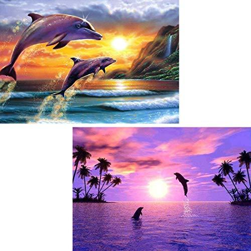Reofrey 2 Piezas 5D Diamond Painting Pintura Diamante Amanecer Atardecer Delfines Arte Bricolaje, Punto Cruz Imitación Bordado Pegatinas de Pared Decoración de sala 30x40cm