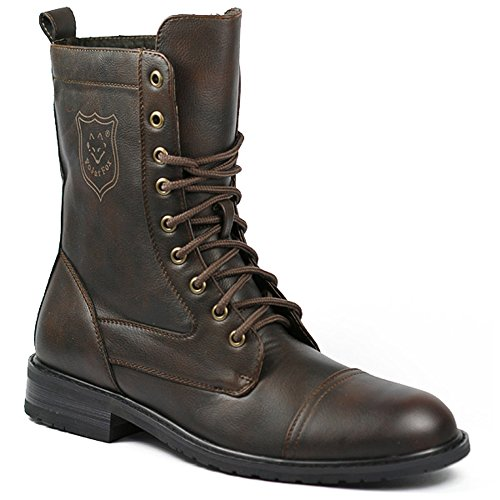 Polar Fox Men's 801026 Tall Military Style Lace Up Combat Fashion Dress Boots, Brown, 8.5