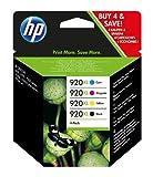 HP 920XL C2N92AE, Pack de 4, Cartuchos de Tinta Originales de alto rendimiento, Negro y Tricolor, compatible con impresoras de inyección de tinta HP Officejet Series 6000, 7000