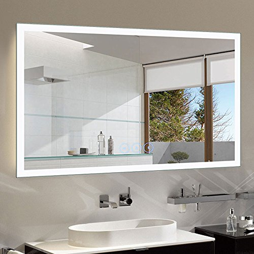 Decoraport Dimmable LED Bathroom Mirror Antifog with Bluetooth, 55x36 in Wall Mounted -
