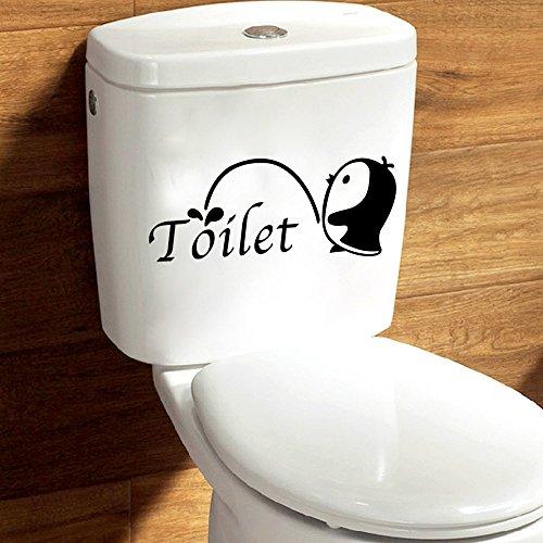 Bigood Pingouin Imprimé Toilette Autocollant Créatif Décoration Toilette 28*12cm