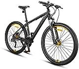 RDJM Bici electrica 27,5 pulgadas de bicicletas de montaña de 27 velocidades, bicicletas de montaña Bicicletas aleación más resistente del marco del freno de disco, Hombres Mujeres Adultos Todo Terren
