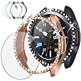 [2+1Pack] Tensea Compatible for Samsung Galaxy Watch 3 Screen Protector and Bling Case 41mm, 2Packs PC Diamond Covers and 1Pack Tempered Glass Protective Film Accessories for Galaxy Watch3 41 mm