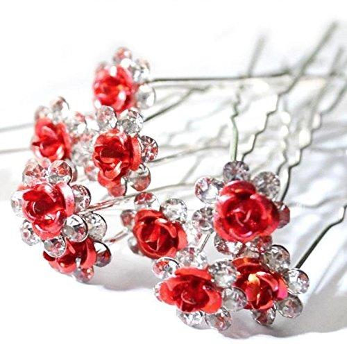 Accessoires cheveux coiffure mariage 1 lot de 5 épingles à chignon fleurs à strass rouges