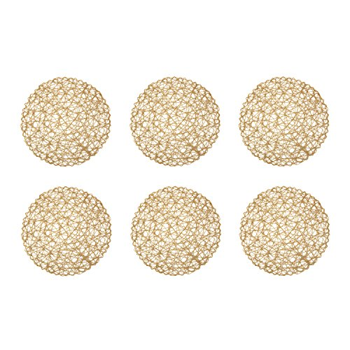 DII Woven Paper Round Decorative Placemat or Charger for Holidays, Occasions, and Décor, 5' Round, Taupe, Set of 6