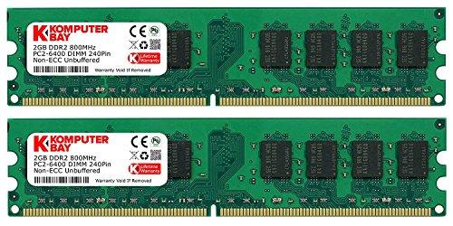Komputerbay 4GB 2X 2GB DDR2 800MHz PC2-6300 PC2-6400 DDR2 800 (240 PIN) DIMM Memoria Desktop