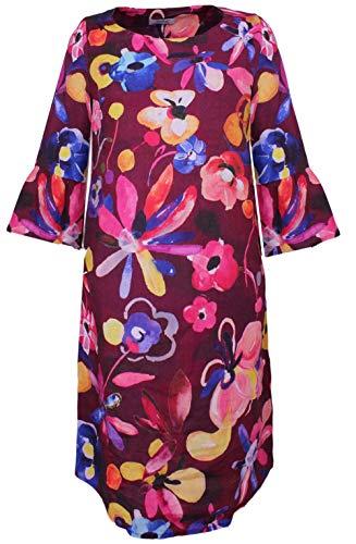 Backstage Clothing Leinen Kleid mit Blumenmuster Gr. L, Schwarze kleine Blume