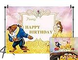 Daniu 7x5FT Feliz cumpleaños Belleza y la Bestia Fondo Foto Props Personaje de Dibujos Animados Pincess Animal Salvaje para niños Estudio Fiesta de cumpleaños
