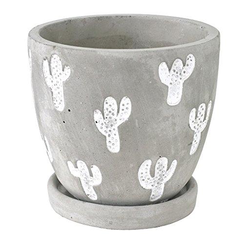 SPICE OF LIFE(スパイス) 植木鉢 レリーフ プランター サボテン グレー Lサイズ 直径12×11.5cm セメント 底穴あり 皿付き CCGH1863