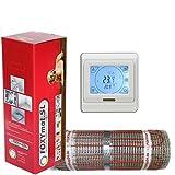 elektrische Fußbodenheizung FOXYMAT.SL RAPID (200 Watt pro m²) mit Thermostat QM-BLUE-TS, 6.0 m² (0.5m x 12m)