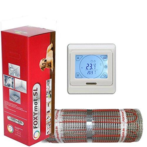 elektrische Fußbodenheizung FOXYMAT.SL RAPID (200 Watt pro m²) mit Thermostat QM-BLUE-TS, 2.0 m² (0.5m x 4m)