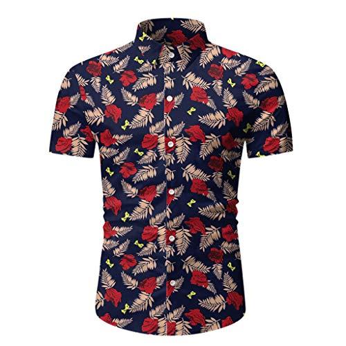 Yowablo Herren Hemd Hawaiihemd Freizeithemd Kurzarm Hemd Herren Kurzarm (L,1Rot)