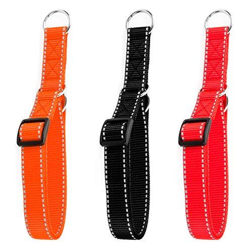 Hunde Design Reflektor Dressurhalsband mit Stoppring Orange 34-54cm / 25mm