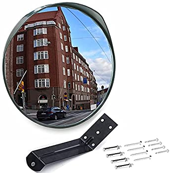 MEETWARM 12  Convex Security Mirror Curved Safety Mirror with Adjustable Fixing Bracket for Indoor Outdoor Office Warehouse Driveway Garage Store