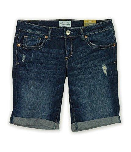 Aeropostale Women's Bermuda Jean Shorts Dark Wash Destructed 3/4