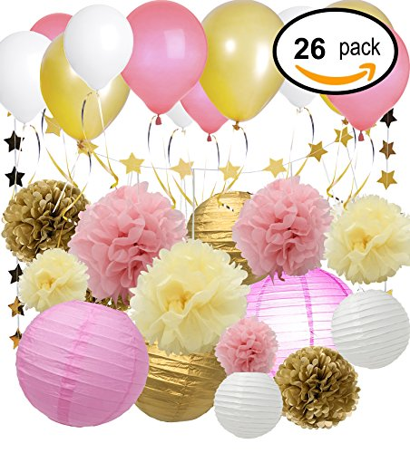 Sungrace 26 Pcs Tissue Paper Pom Poms Flowers Paper Lanterns and Star Paper Garland with Silk Ribbon and Balloons for Wedding Party Decorations