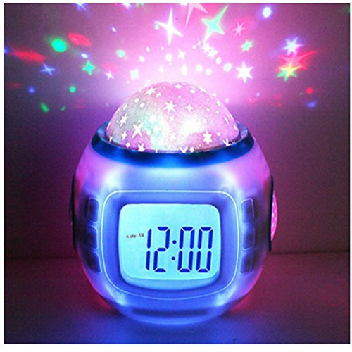 Hangang Bambini Sveglia Wake-up Light LED Cielo Stellato Calendario sveglia Led Nightlight Calendario Termometro per Bambini Ragazze Camera da letto