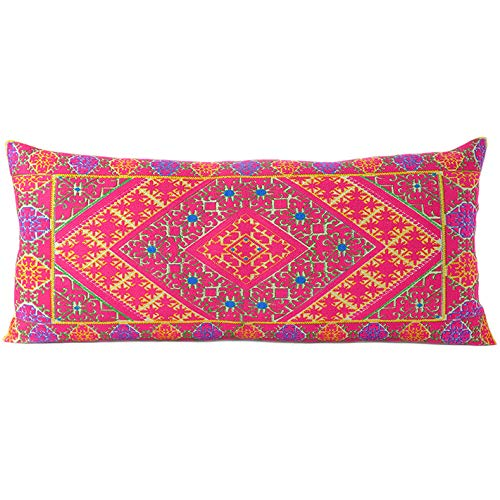 Eyes of India - 14 X 32 Purple Pink Moroccan Bolster Long Lumbar Sofa Couch Pillow Cover Case Cushion Bohemian Accent Indian Boho Chic Seating Decor Handmade COVER ONLY
