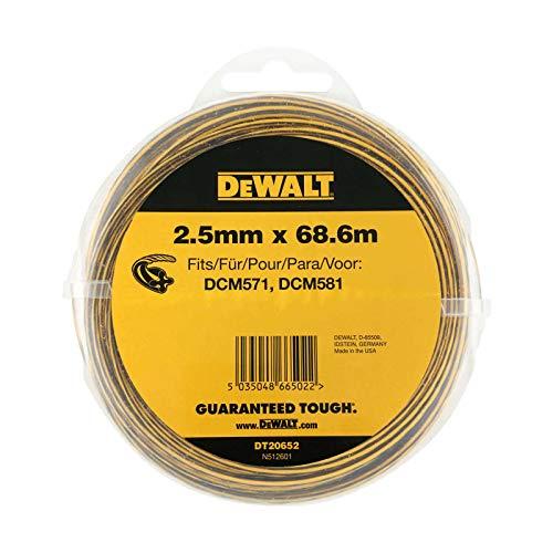 DeWALT DT20652-QZ Trimmer-Faden, 68,6 m / 2,5 mm, Schwarz/Gelb