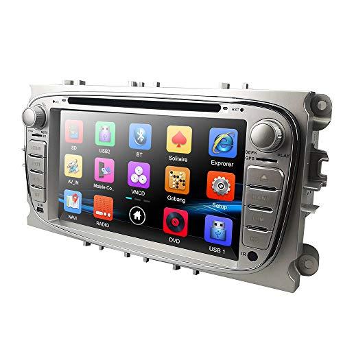 hizpo Doppel-Din-Autoradio-Autoradio in Dash Headunit für Focus Mondeo S-Max C-Max Galaxy Unterstützung GPS-Navigationsbildschirm Spiegel OBD2 Lenkradsteuerung DVD-Player Rückfahrkamera